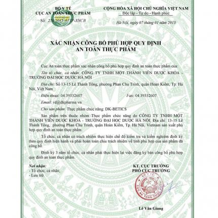 giấy chứng nhận DK Detics
